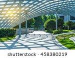 empty brick floor with modern... | Shutterstock . vector #458380219