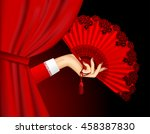 female hand with open red fan... | Shutterstock . vector #458387830