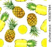 seamless pattern with hand... | Shutterstock . vector #458387884