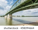 Small photo of Maria Valeria bridge joins Esztergom in Hungary and Sturovo in Slovak republic across the Danube river. Architectural scene. Transportation theme.
