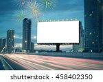 blank billboard on the highway... | Shutterstock . vector #458402350