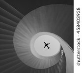 airplane flies over the stairs... | Shutterstock . vector #458403928