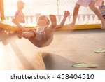 children jumping on trampoline... | Shutterstock . vector #458404510
