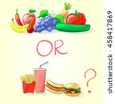 fresh fruits and vegetables or... | Shutterstock .eps vector #458417869