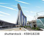 singapore. marina bay sands.... | Shutterstock .eps vector #458418238
