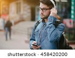 boy with headphones  phone and... | Shutterstock . vector #458420200