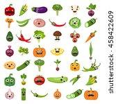 smiling vegetables set on white ... | Shutterstock .eps vector #458422609