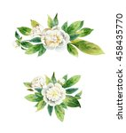 set boutonnieres with peony... | Shutterstock . vector #458435770