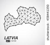 vector polygonal latvia map.... | Shutterstock .eps vector #458441350