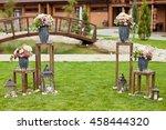 wedding ceremony with flower...   Shutterstock . vector #458444320