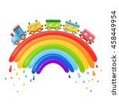 bright vector baby cartoon... | Shutterstock .eps vector #458449954