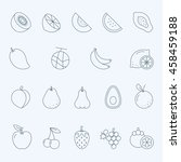 lines icon set   fruit | Shutterstock .eps vector #458459188