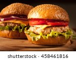 home made hamburger with beef ... | Shutterstock . vector #458461816