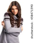Small photo of Woman in gray pullover. Lady with long brown hair. Alluring look of young model. Romance and temptation.