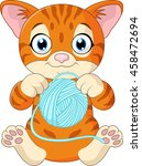 cute cat cartoon playing with... | Shutterstock . vector #458472694
