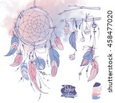 dreamcatcher  feathers and...   Shutterstock .eps vector #458477020