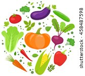 set of colorful vegetables in... | Shutterstock .eps vector #458487598
