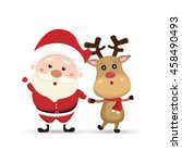 santa claus and christmas deer | Shutterstock .eps vector #458490493