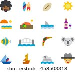 australia colored flat icons | Shutterstock .eps vector #458503318