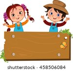 hapy two farm children with a... | Shutterstock .eps vector #458506084