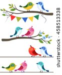 birds on different branches in... | Shutterstock .eps vector #458513338