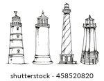 vector set of lighthouses... | Shutterstock .eps vector #458520820