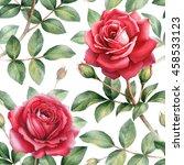 watercolor rose flowers... | Shutterstock . vector #458533123