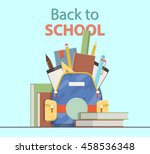set of school backpack with... | Shutterstock .eps vector #458536348