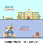 set of school  bus  backpack... | Shutterstock .eps vector #458536354