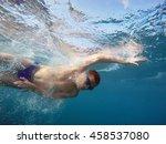 boy swim in the sea | Shutterstock . vector #458537080