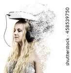 Small photo of Audio book idea - a young woman with headphones connected to the book - disintegration effect