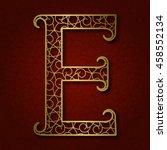 Golden Ornamental Letter E Wit...