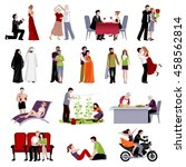 couples people of different age ... | Shutterstock .eps vector #458562814
