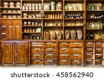 bottles on the shelf in old... | Shutterstock . vector #458562940
