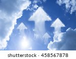 arrow cloud shape on blue sky... | Shutterstock . vector #458567878
