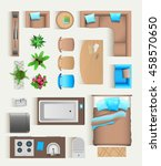 set top view for interior icon... | Shutterstock .eps vector #458570650
