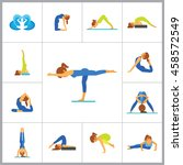 yoga icon set | Shutterstock .eps vector #458572549