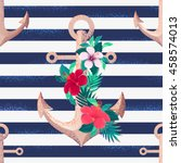 anchors  hibiscus flowers and... | Shutterstock .eps vector #458574013
