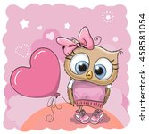 greeting card cute owl girl... | Shutterstock .eps vector #458581054