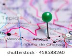 Small photo of Ameca pinned on a map of Mexico