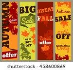 autumn sale set of vertical... | Shutterstock .eps vector #458600869