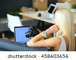 young photographer and graphic... | Shutterstock . vector #458603656