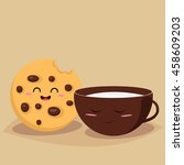 funny cookie with a cup of milk.... | Shutterstock .eps vector #458609203