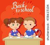 funny pupils sit on desks read... | Shutterstock .eps vector #458615104