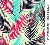 seamless tropical pattern with... | Shutterstock . vector #458615320