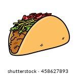taco vector icon. a hand drawn... | Shutterstock .eps vector #458627893