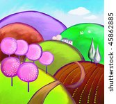Springtime landscape painting in naive style. - stock photo