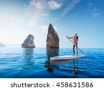 stand up paddle boarding. young ... | Shutterstock . vector #458631586