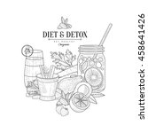 detox and diet fresh food ... | Shutterstock .eps vector #458641426