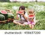 the little girl eating... | Shutterstock . vector #458657200